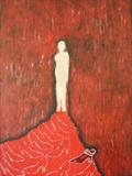 red hair,red shoes by Sally Hunton, Painting, Wax and Oil Stick on Paper