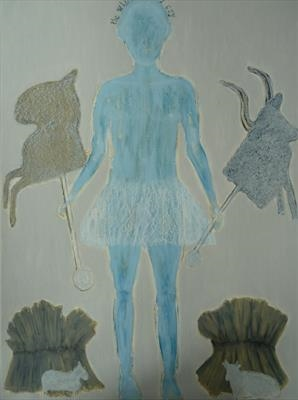 boyblue by Sally Hunton, Painting, Wax and Oil Stick on Paper