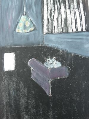 on their sofa by Sally Hunton, Painting, Wax and Oil Stick on Paper