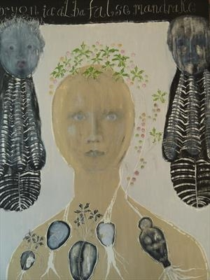 woman number five by Sally Hunton, Painting, Wax and Oil Stick on Paper