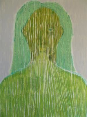 woman number three by Sally Hunton, Painting, Wax and Oil Stick on Paper